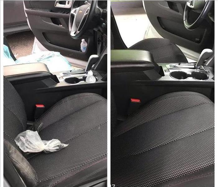 before and after blood cleanup on drivers seat and passengers seat