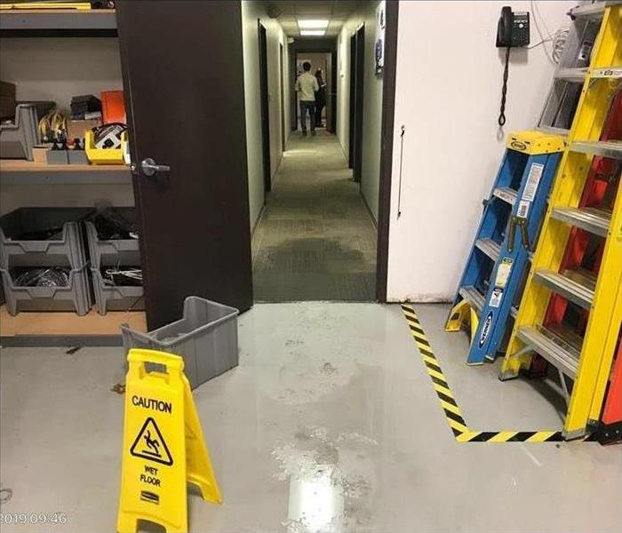 Water Damage in the storage room of a Commercial Building